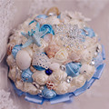 New seas and oceans style wedding bouquets bkue and white shells starfish and diamond decoration bride bouquet for beach wedding