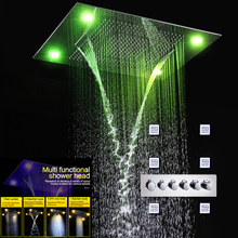 Luxury Concealed Shower Set LED Color Changing Shower Head Faucets Rain Shower Fall Curtain Waterfall Misty And Water Jet цена