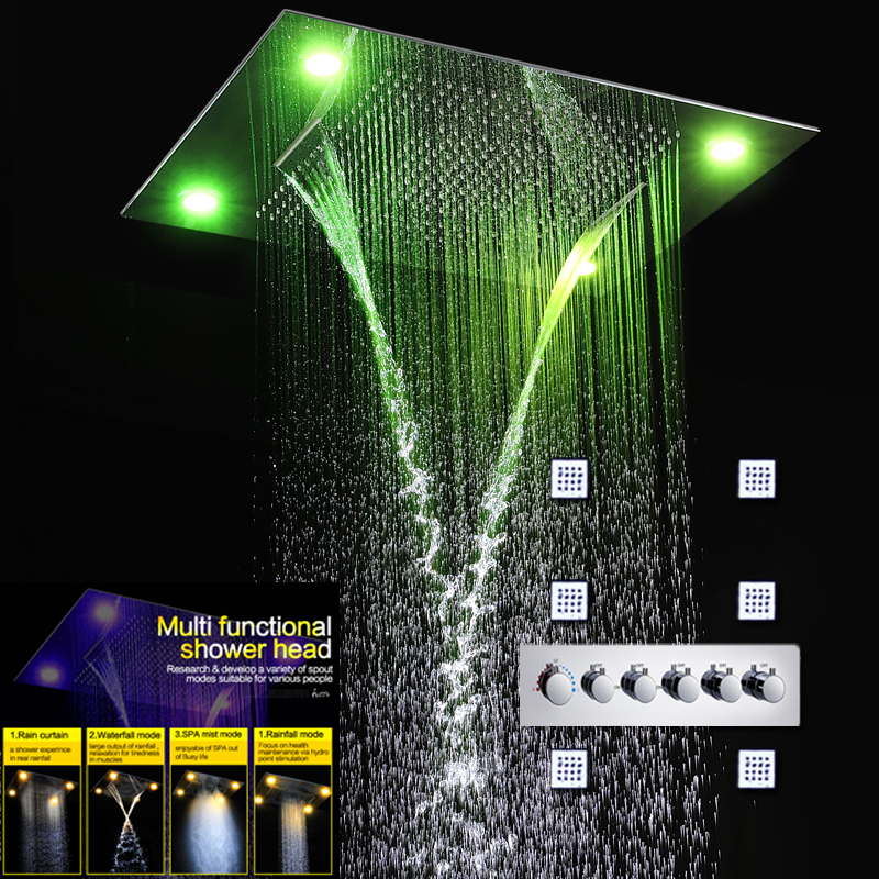 Luxury Concealed Shower Set LED Color Changing Shower Head Faucets Rain Shower Fall Curtain Waterfall Misty And Massage Body Jet