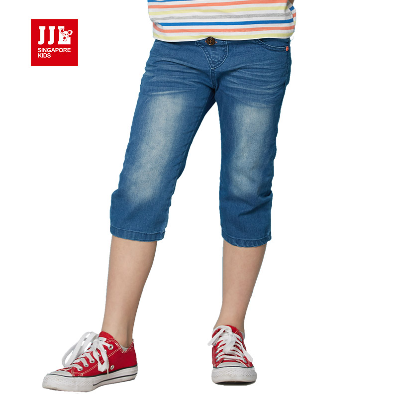 ФОТО boys short kids jeans half length boys trouser kids cropped pants children trouser kids clothes boys pants chid jeans size 6-15y