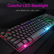 New iMice Gaming Keyboard 104 Keycaps RGB Backlit Mechanical Feeling Keyboard Game Keyboards with RU Sticker for PC Laptop цена