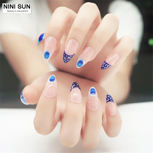 Fake Art Nail Tips 24 Stks 3d Blauw Franse Acryl False Nail Art