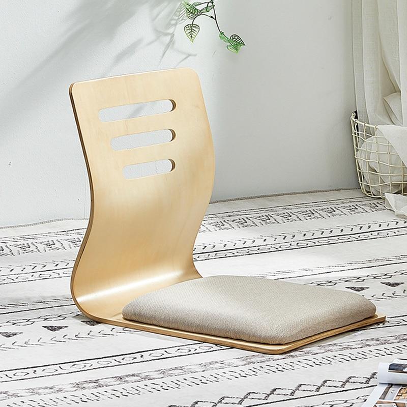 4pcs/lot Floor Seating Living Room Furniture Natural Finis Beige Cushion Japanese Style Tatami Zaisu Legless Chair Wooden