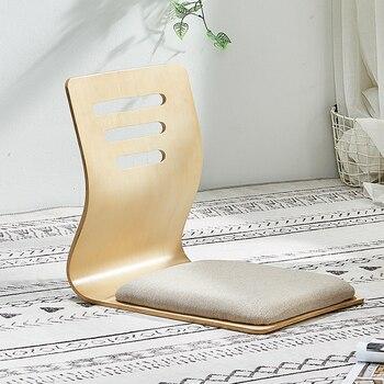 цена на 4pcs/lot Floor Seating Living Room Furniture Natural Finis Beige Cushion Japanese Style Tatami Zaisu Legless Floor Chair Wooden