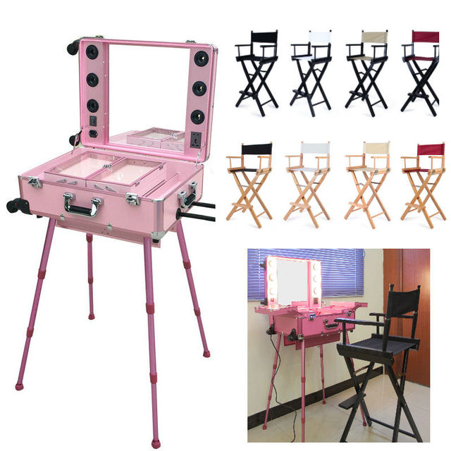 Lighted Makeup Box Professional With Hairdressing Salon Chairs Directors Chair Aluminum Beach 8 Colors