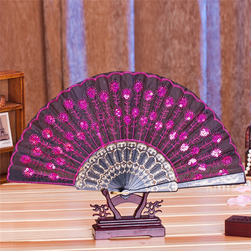 1PC Hand Fans Folding Peacock Pattern Embroidered Sequin Hand Held Chinese Fan Wedding Favors and Gifts abanicos de mano J14#3 (17)