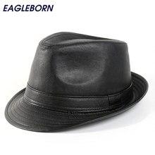 EAGLEBORN design Brief mens leather Fedora hats flat top gentleman Jazz Caps 01ea3432b43f