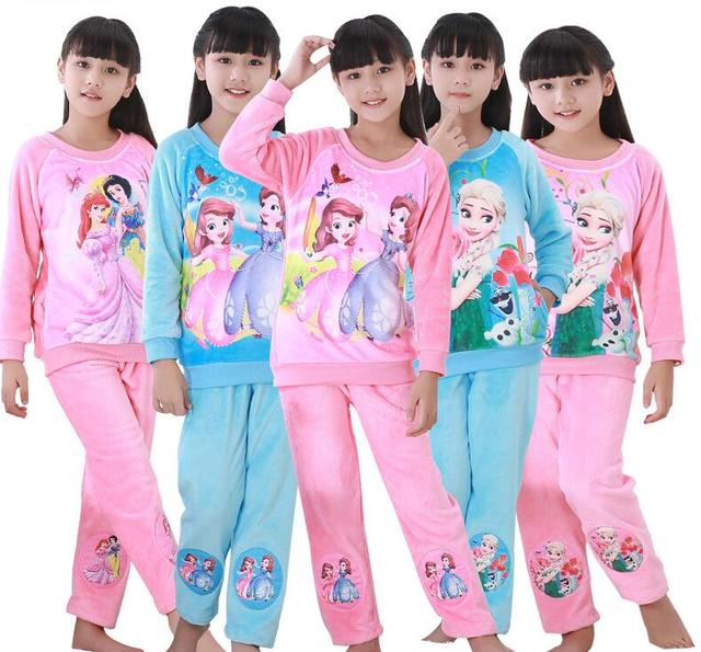 4a2a94debb Neue Pyjamas Set Baby Mädchen Jungen Flanell Winter Verdicken Cartoon Kinder  Pyjamas Kinder Schlafanzug Kids Jungen