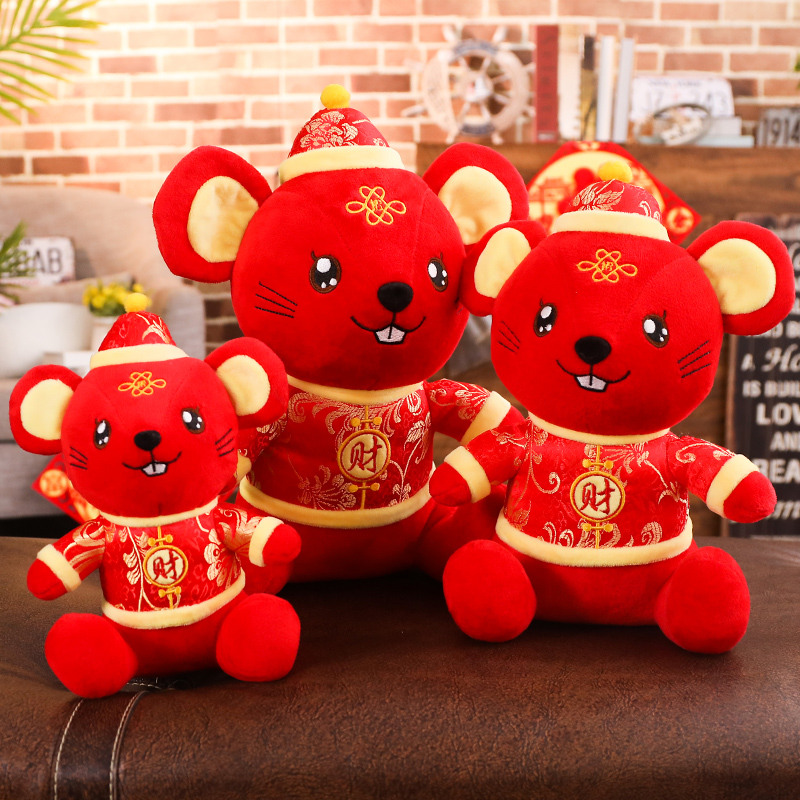 2020 New Year Plush Rat Year Mascot Toy Plush Red Mouse In Tang Suit Soft Toys Chinese New Year Party Decoration Gift