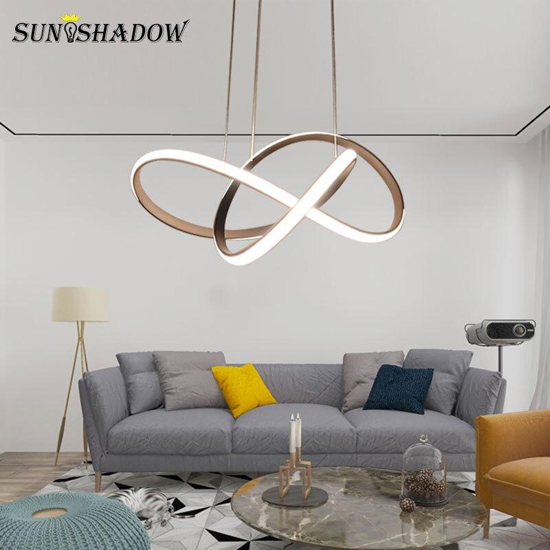 Image 5 - White/Black Modern LED Pendant Light For Living room Bedroom Dining room Hanging Lamp LED Pendant Lamp Home Lighting Led Lustre-in Pendant Lights from Lights & Lighting