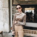 2017 New Arrival Warm Velvet Bodycon Solid O-neck Fashion T-shirts Blusa Women Sexy Office Lady Sweater Pullover M8315