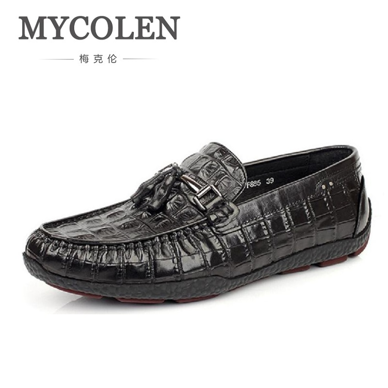 MYCOLEN Crocodile Leather Shoes Men Casual Shoes Slip On Genuine Leather Mens Loafers Moccasins Breathable Driving Shoes men s crocodile emboss leather penny loafers slip on boat shoes breathable driving shoes business casual velet loafers shoes men