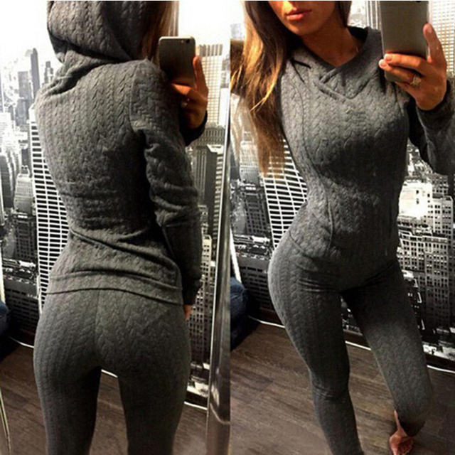 New Women 2pcs Hoodies Twisted Pattern Hooded Tracksuit Long Sleeve Casual Sweatshirts+Pants Suit conjunto femininals W284