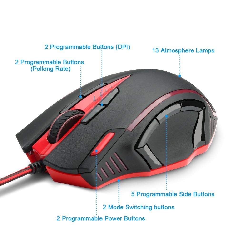 Redragon USB souris de jeu 16400 DPI 15 boutons RGB design ergonomique pour ordinateur de bureau accessoires souris programmables gamer lol - 2