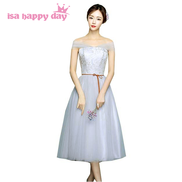 268bba449f3 light gray girls off the shoulder convertible wrap bridesmaid party dresses  special occasion dress for wedding new 2019 H4089