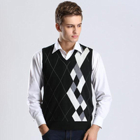 New Wool Sweater Pullover Tops Sleeveless Plaids V Neck For Autumn Winter Casual Basic Knit Vest