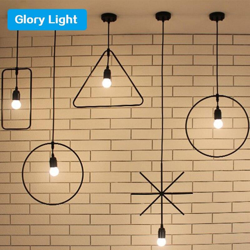 ФОТО New Simple Iron Loft Pendant Lights Creative Minimalist Lamp Industrial Vintage Pendant Lamp Restaurant indoor black E27 light