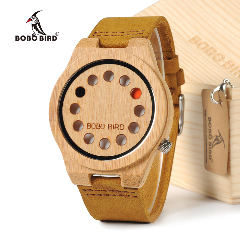 BOBO BIRD New Design 12 Wholes Leather Band Top Brand Luxury Men's Wooden Quartz Watch Without Second Hand In Gift Box