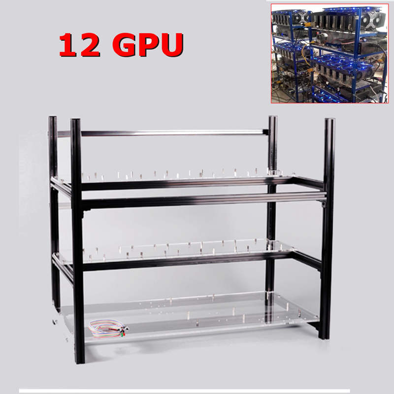 12 GPU Mining Frame With the Fan Mounting Parts but no Fans Aluminum Stackable Miner Support For Ethereum BTC Mining Case