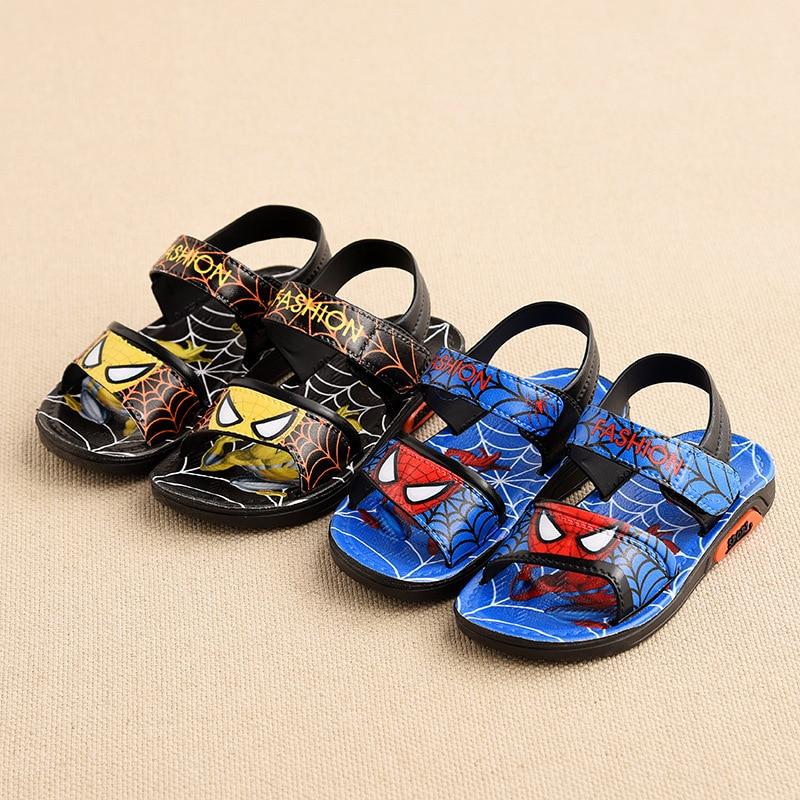 Baby Boys Sandals New Summer Kids Beach Shoes Children Shoes Cartoon Spiderman Boys Shoes Baby Sandals Soft Toddler Kids Sandals