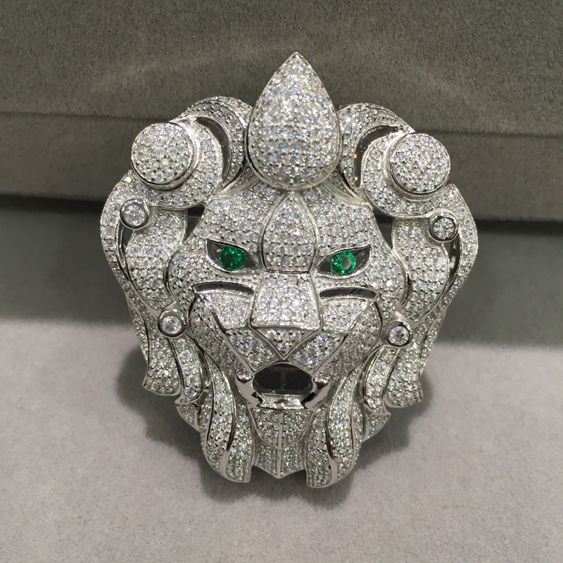 Jewelry Findings Connectors Lion Head silver With Cubic Zircon accessories DIY Top Quality Animal Fashin Women