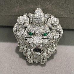 Accesorios de joyería, conectores de cabeza de león de plata con accesorios de circonita cúbica, Animal de alta calidad DIY, joyería a la moda para mujer