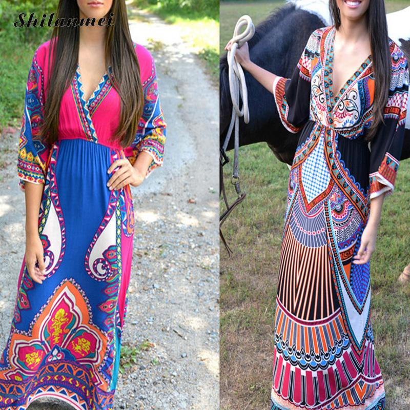 New Women long tunic bathing suit for beach mujer beach cover up female cover ups floor-length printed geometric African style