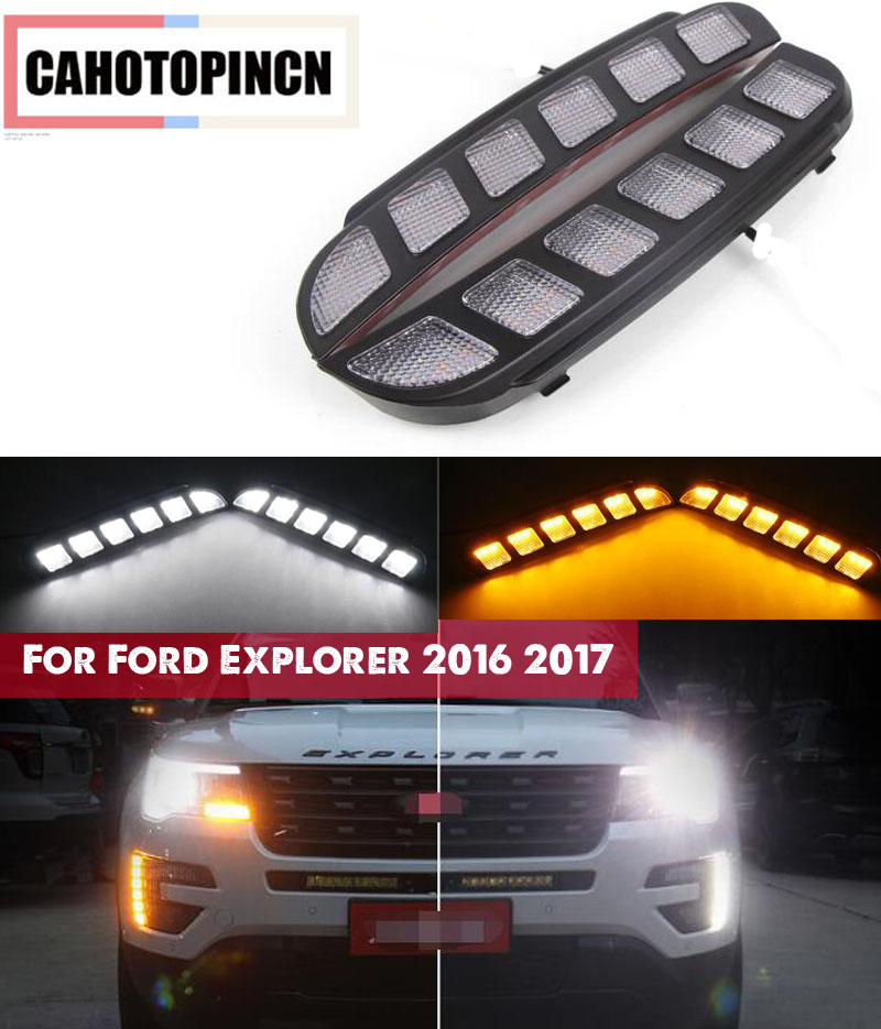 For Ford Explorer 2016 2017 Yellow Turn Signal Function Waterproof Car LED DRL 12V LED Daytime