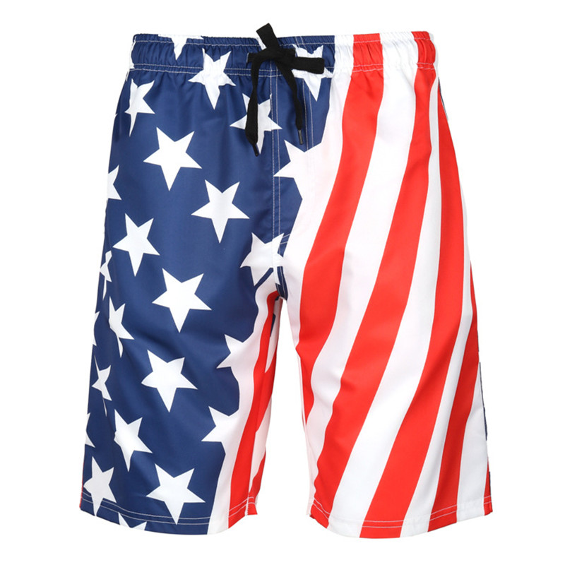 Men's Beach Shorts with Mesh Lining Surfing Pants Swim Trunks America Flag Board Shorts Quick Dry Swimsuit Plus Size