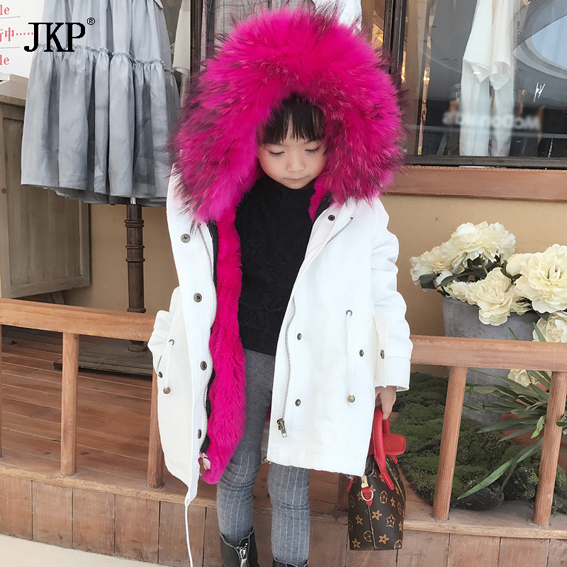 2017 Winter Children's Natural Raccoon Fur Collar White Coat Girls Kids Rex Rabbit Fur Liner Parka Baby Jackets 5 colors 2017 new long fur coat parka winter jacket women corduroy big real raccoon fur collar warm natural fox fur liner