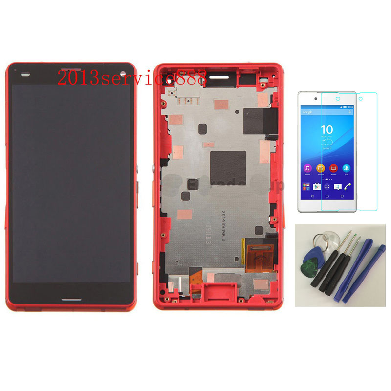 OEM LCD Display Touch Screen Digitizer + Frame assembly For Sony Xperia Z3 Compact Orange+With free tools