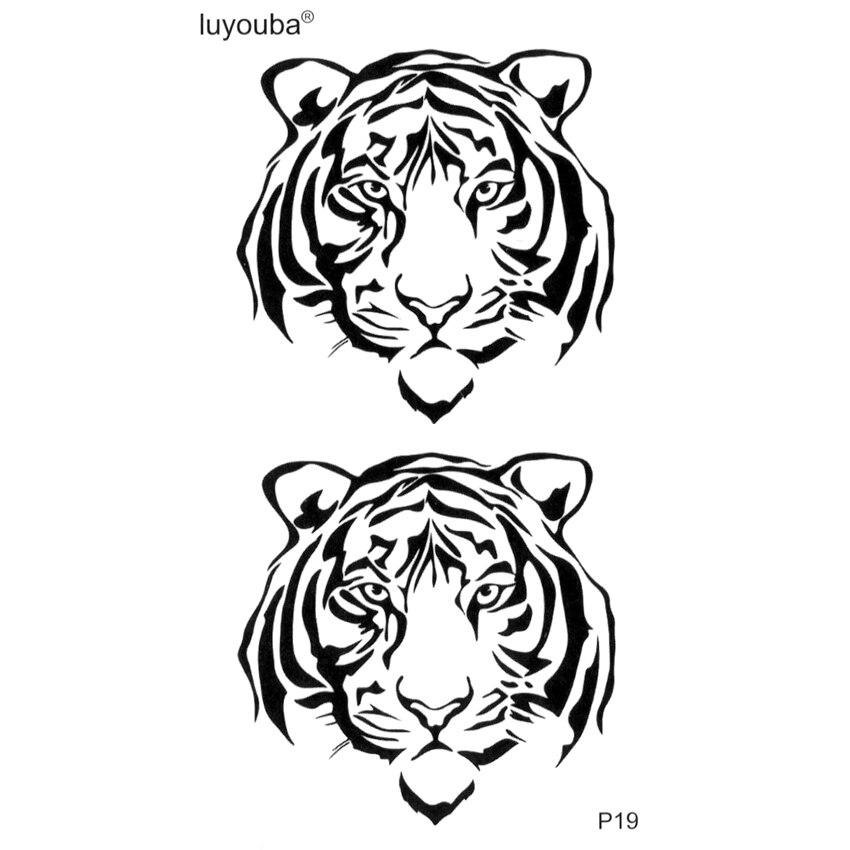Tiger Head  Temporary Tattoos For Men Fake Tattoo Harajuku 3D Sticker Tatouage Temporaire Homme Tatoo Temporaire Kids Tattoo