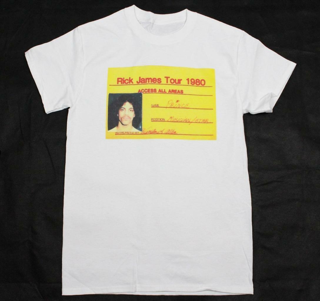 Prince Rick James tour pass White T Shirt S XXXL soul r&b blues music motown