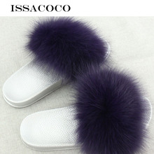 ISSACOCO Womens Summer Fox Fur Hair Slippers Women Flat Indoor Slides Beach Flip Flops Furry Shoes Pantuflas