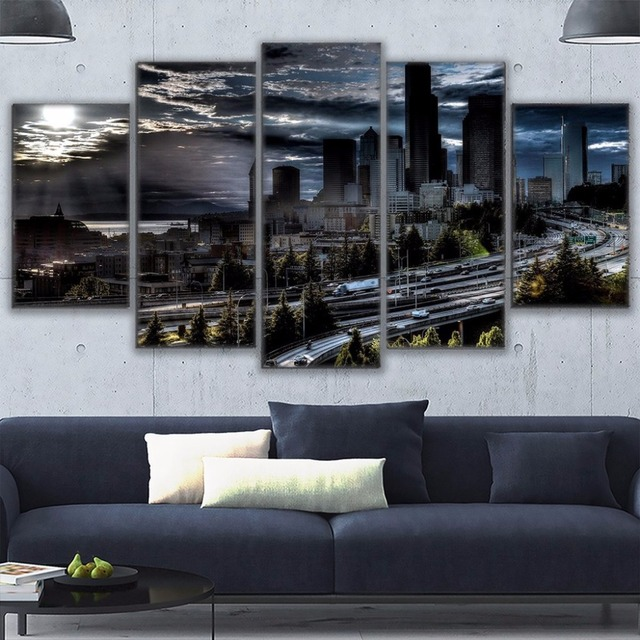 Canvas HD Prints Poster Wall Art Living Room Abstract Pictures 5 ...