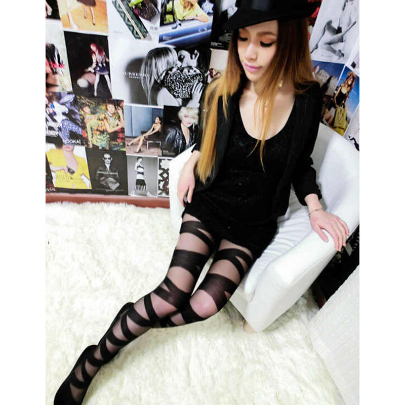 Fashion Wanita Bergaris Kaus Kaki Ketat Tinggi Seksi Cross Transparan Stoking Elastis Black Pantyhose Pakaian Dalam Wanita Lembut
