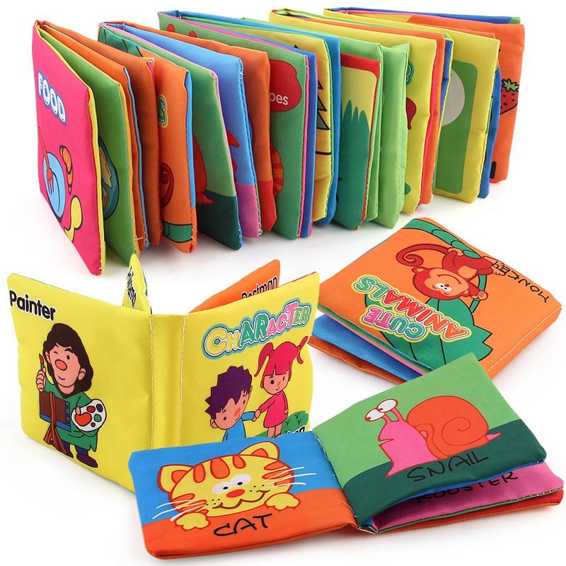 Для раннего образования ткань книги игрушки для изучения английского языка для маленьких детей Детские ладони ткань моющиеся книг Еда Цвет...