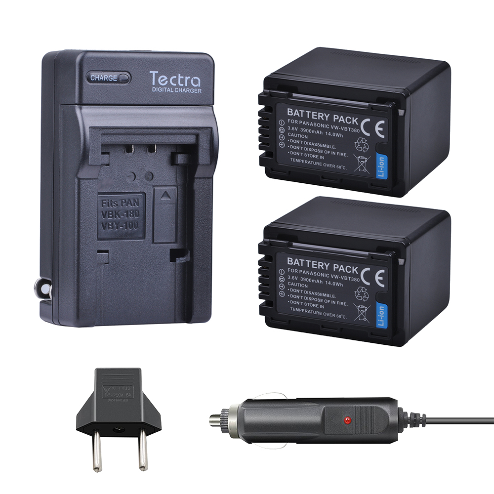 Tectra 2PCS VW-VBT380 VW VBT380 Battery+AC Charger+Car Plug for Panasonic HC-V180GK HC-V380GK HC-W580GK HC-W580MGK dste 3pcs vw vbt380 li ion battery for panasonic hc w580gk hc v160gk hc v380gk hc v180gk hc w580mgk hc vx980gk hc wxf990mgk