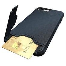 Tarjeta de crédito híbrido armor case para iphone 7/7 plus delgado de bolsillo ocultos bolsa pc phone case para iphone 6 6s plus contraportada casos