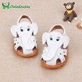 Genuínos Sandálias de Couro Do Bebê Da Menina Do Menino Bonito do Elefante Newbron Flats Fundo Macio Meninos Meninas Sapatos Meninos Da Criança Sapato Com Luz