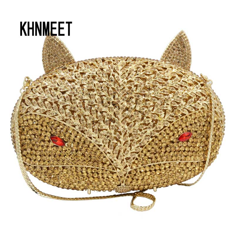 Fashion Animal Designer evening Bag Gold fox Luxury Clutch Crystal Bag chain Mini Handbags Ladies banquet bags Wedding Purse 610 newest ly 4040 co2 laser engraving machine 50w laser tube laser cutting machine free tax to russia