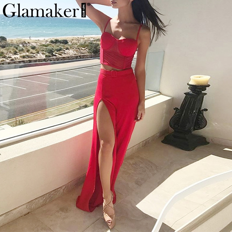 Glamaker Red Spaghetti Strap Boho Sexy Jumpsuit Women Split Two-piece Suit Beach Summer Jumpsuit Holiday Party Playsuit Overalls
