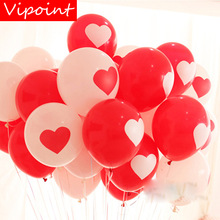 VIPOINT PARTY 100pcs 12inch red white love heart latex balloons wedding event christmas halloween festival birthday party HY-385