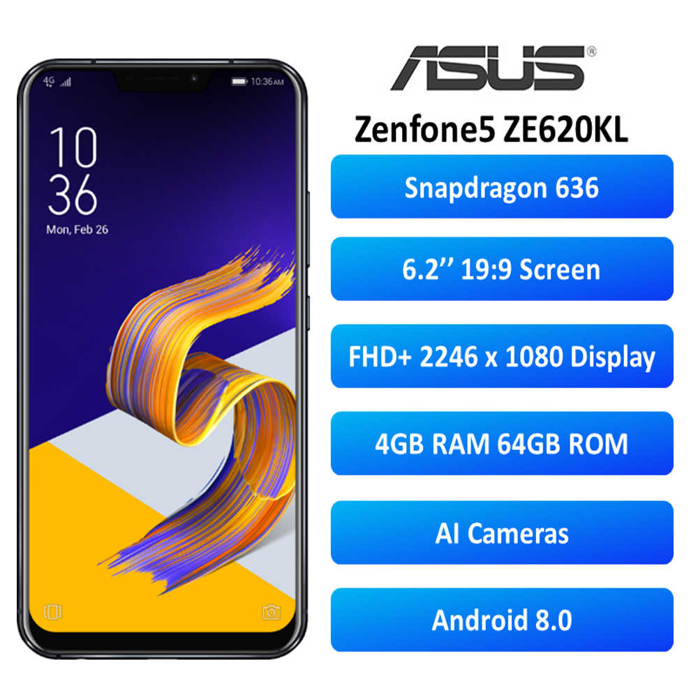 "Version globale ASUS Zenfone 5 ZE620KL 4 GO RAM 64 GO ROM 6.2 ""Android 8.0 Smartphone NFC Mise À Jour OTA"