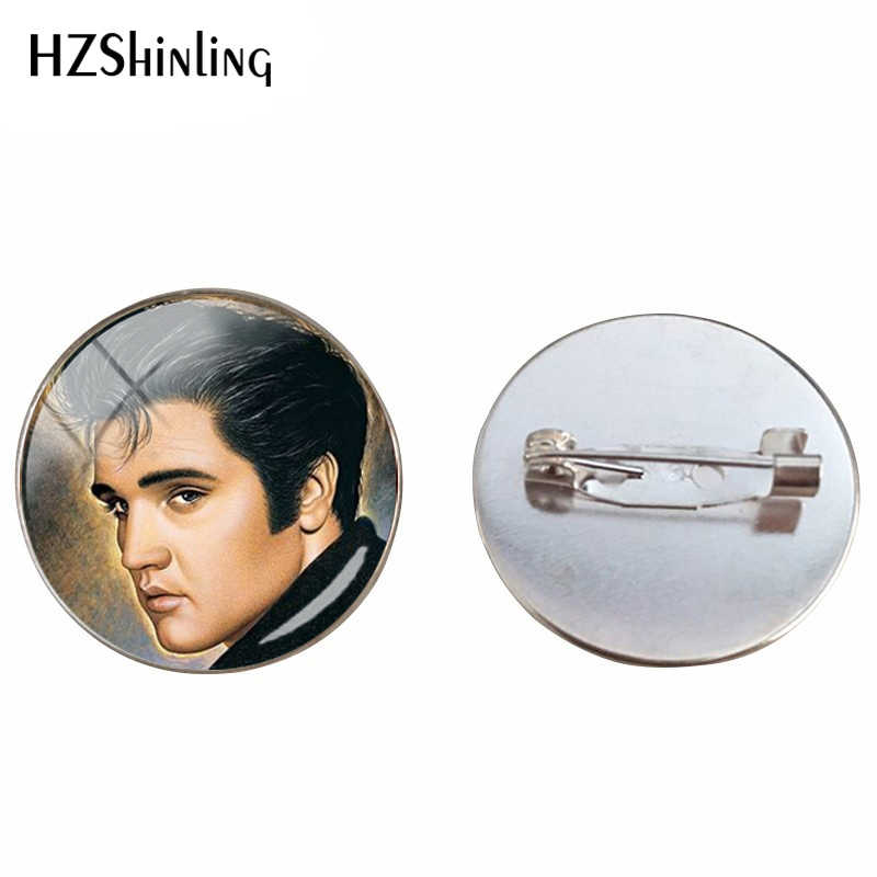 New Elvis Presley Dome Cabochon Brooch Famous Star Elvis Presley Crystal Round Picture Jewelry Glass Cabochon Brooches