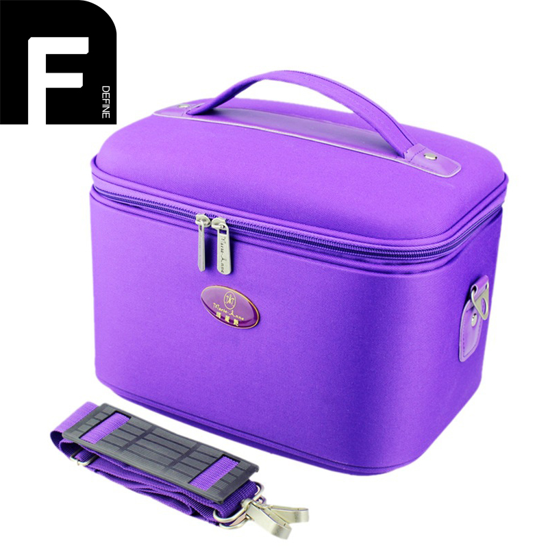 Cosmetic Bag for Traveling Double Zipper Cosmetic Carrying Case Essential Elegant Purple Makeup Storage Box Make Up Bags