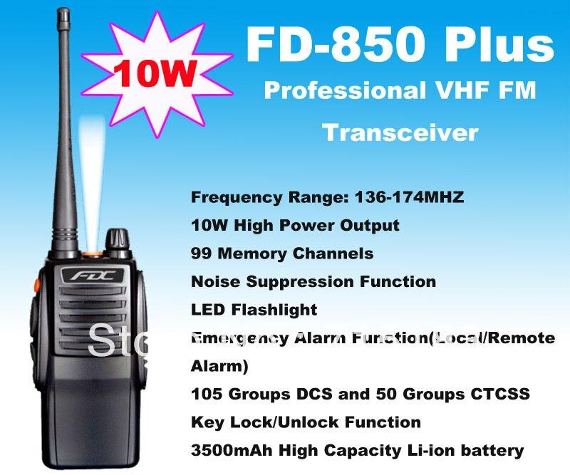 10W High Output Power FD-850 Plus Walkie Talkie 10Watt VHF 136-174MHz Professional FM Transceiver