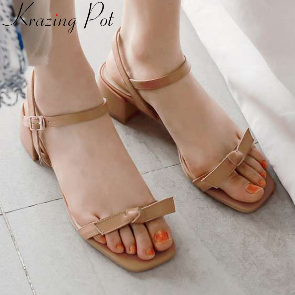 Krazing Pot princess simple style butterfly knot decoration peep square toe buckle strap med heels natural