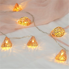 Holiday Lighting Rose gold leaf LED flashing lights creative room decoration string net red bedroom layout small light Oct8(China)