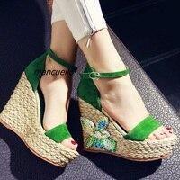 Klas Yeşil Süet Burnu açık Platformu Sandalet Moda Toka Stil Renkli Sequins Dekore Kama Elbise Sandalet Trendy Ayakkabı